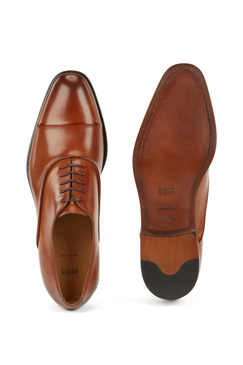 Hugo Boss - Italian-made Oxford shoes in vegetable-tanned calf leather - 4