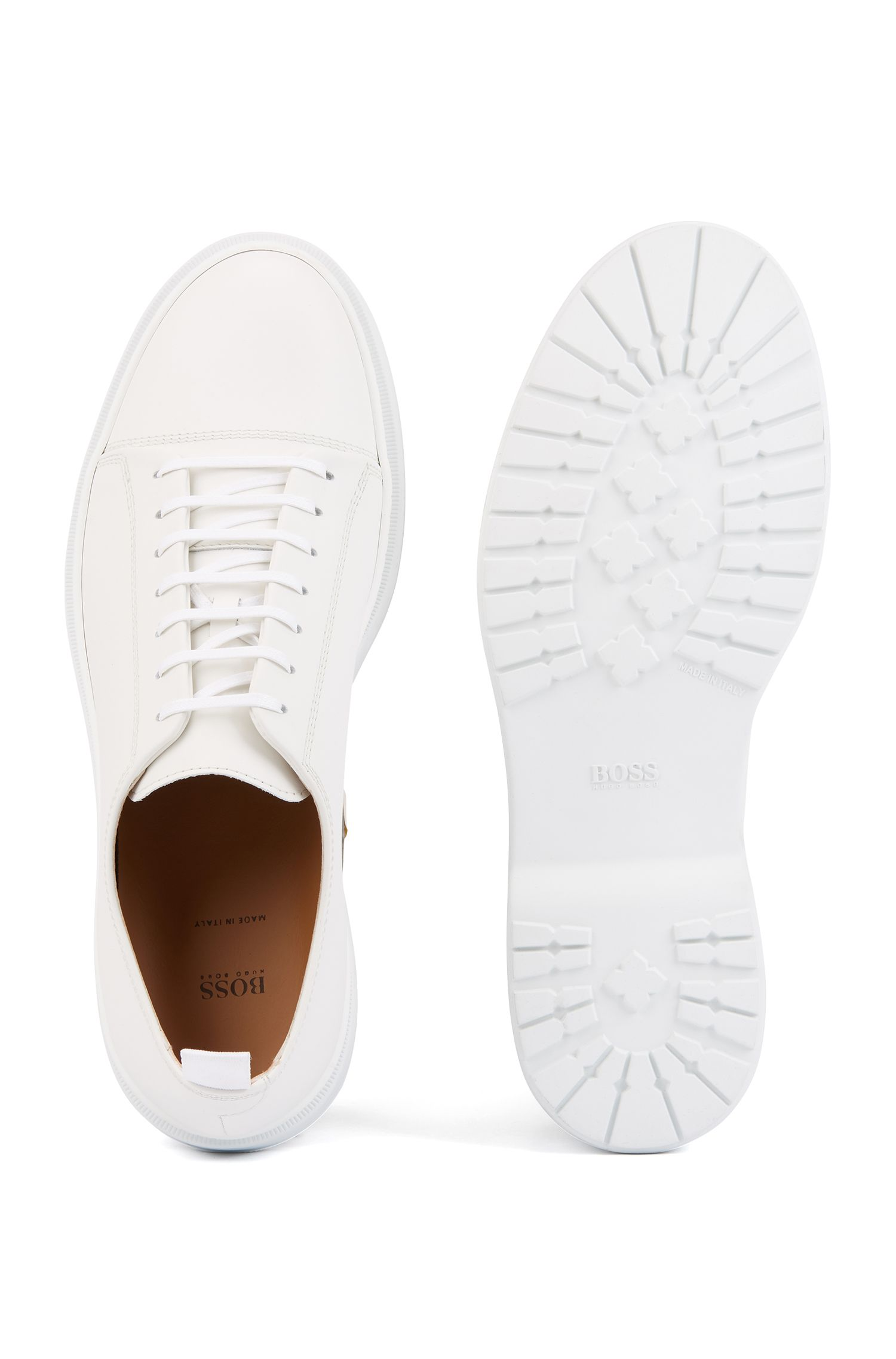Italian-made casual Derby shoes in smooth leather, White