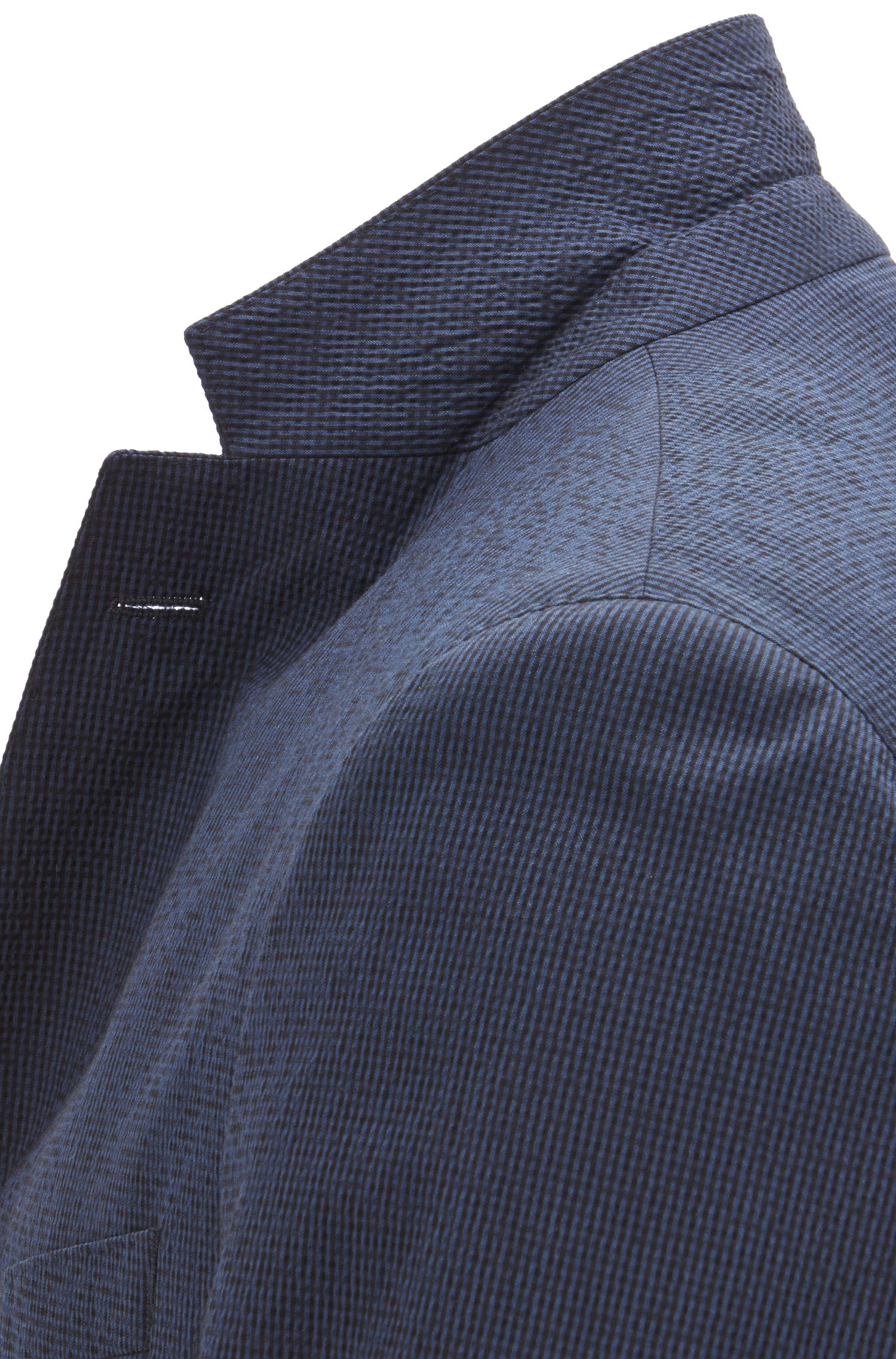 Slim-fit jacket in micro-patterned seersucker, Open Blue