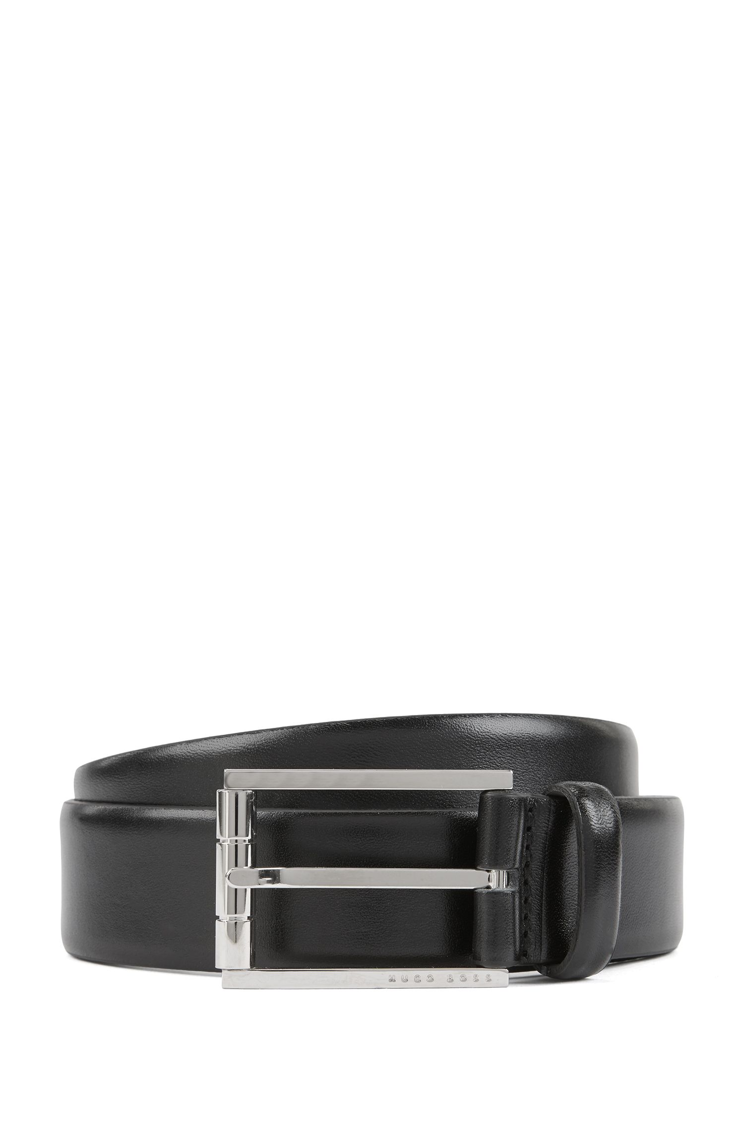 Italian leather belt with a polished roller buckle, Black
