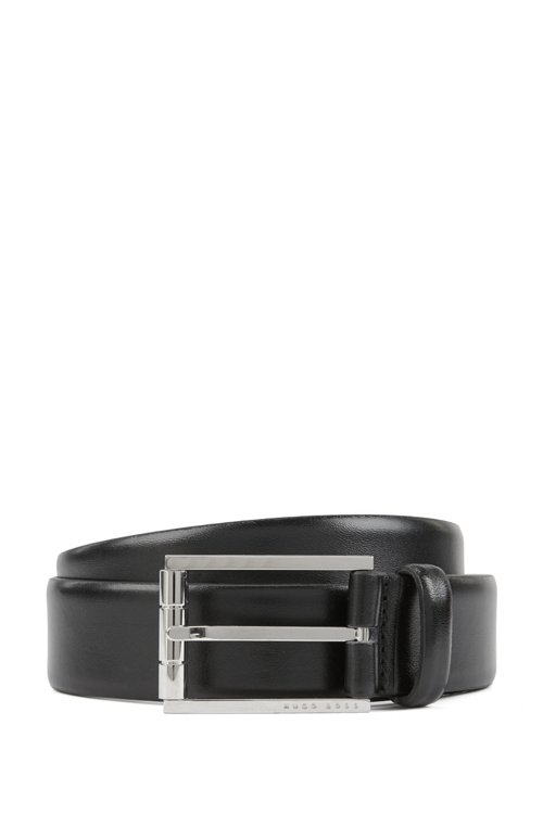 Hugo Boss - Italian leather belt with a polished roller buckle - 1