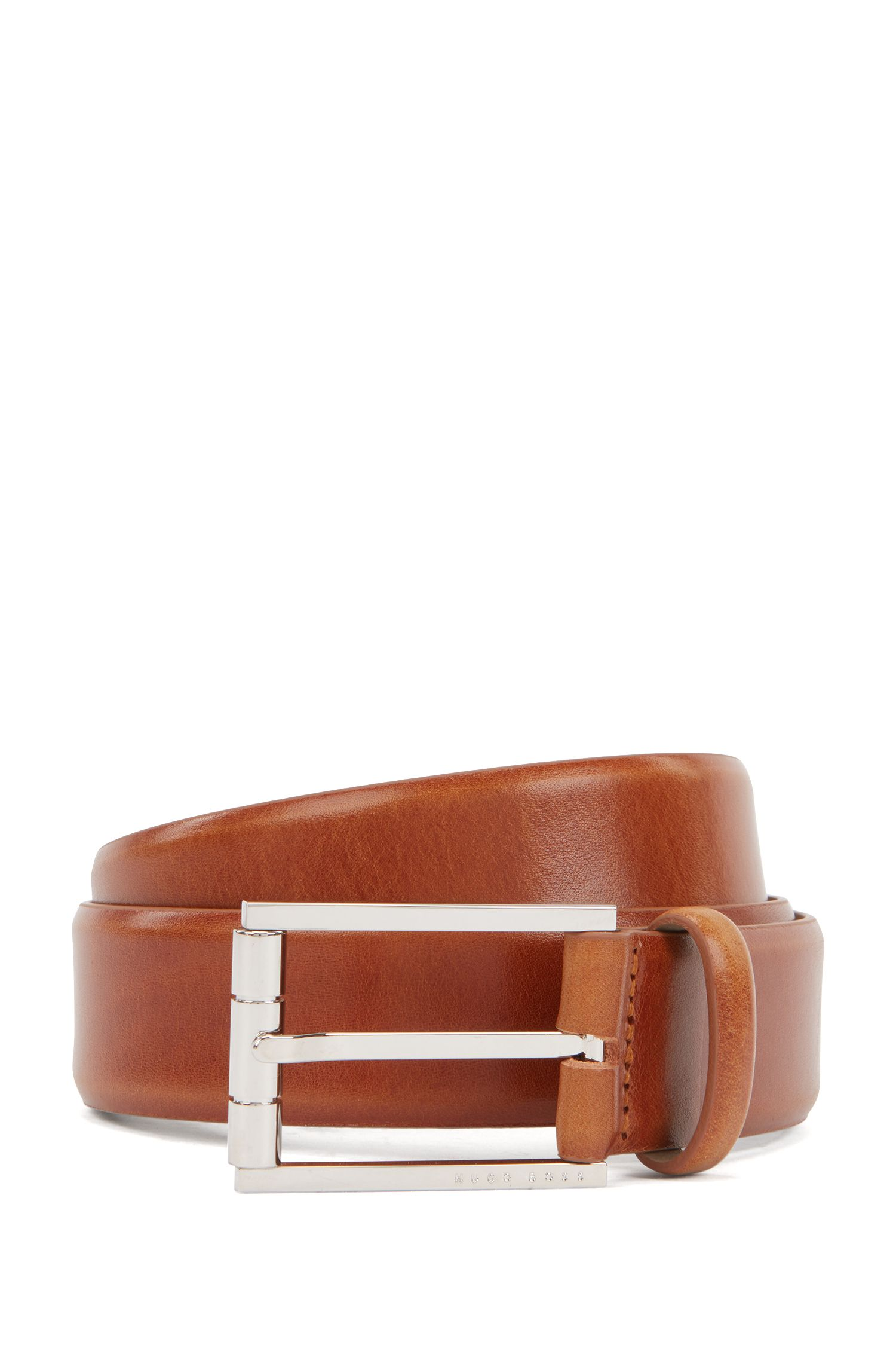 Italian leather belt with a polished roller buckle, Brown