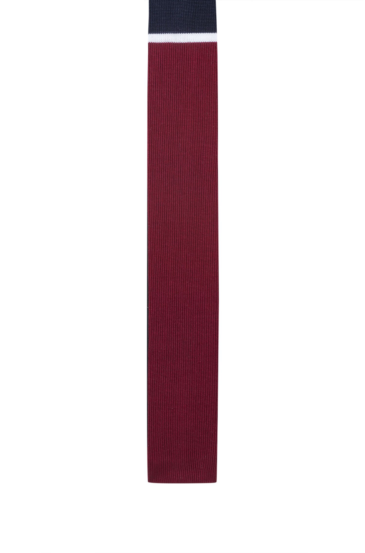 Corbata de punto de algodón con bloques de color, Rojo oscuro