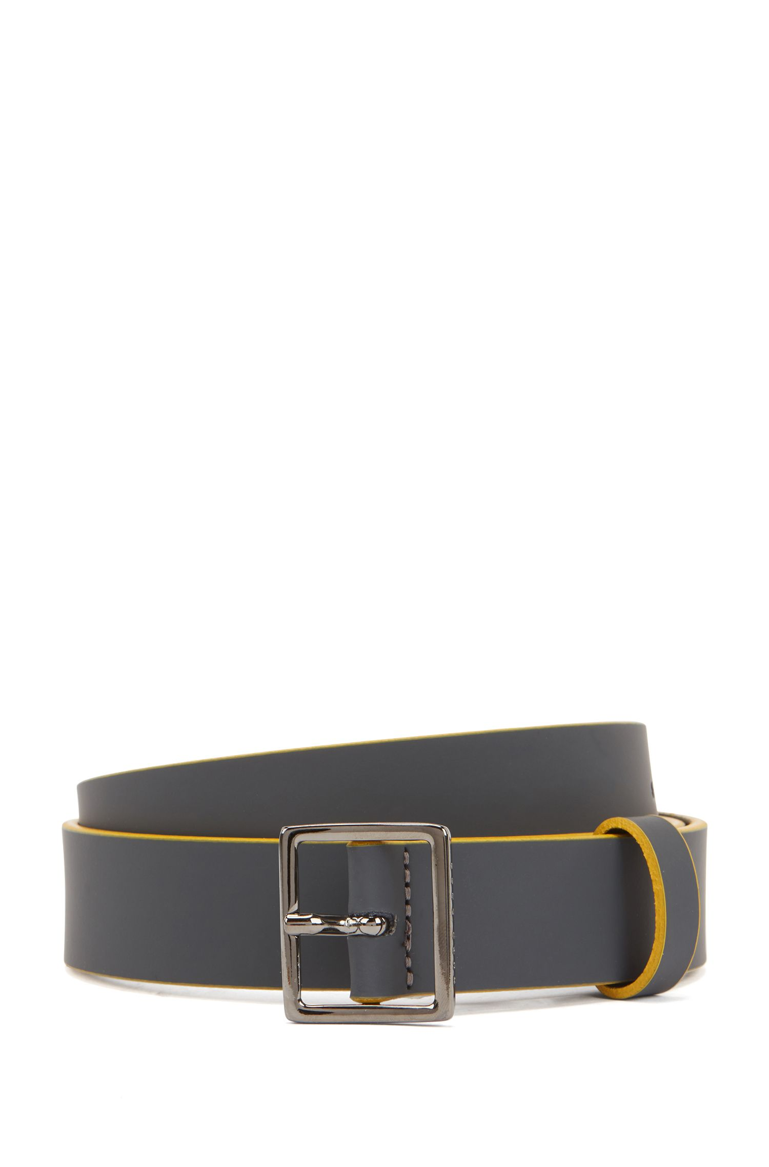 Bicoloured belt in rubberised leather with square buckle, Dark Grey