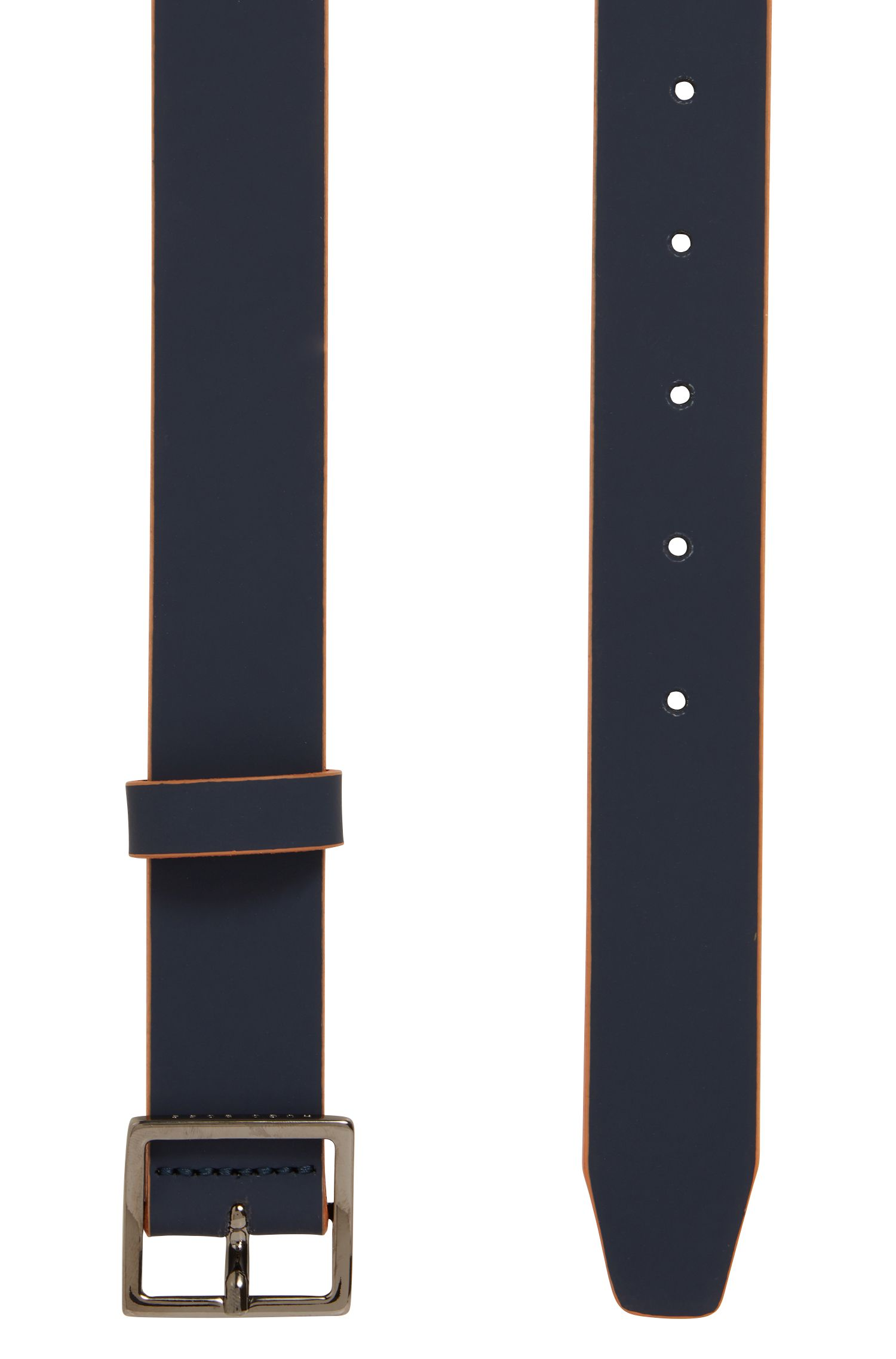 Bicoloured belt in rubberised leather with square buckle, Dark Blue