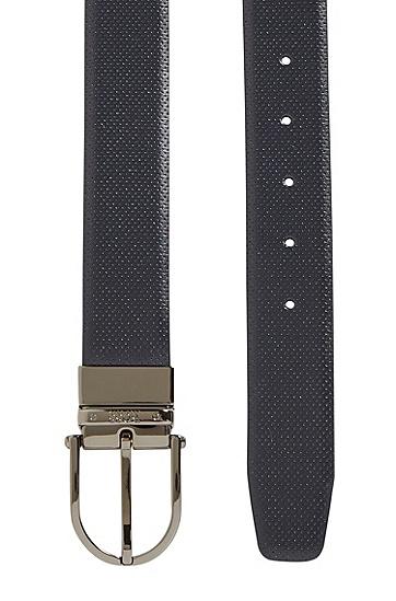 双色设计双面皮革腰带,  402_暗蓝色