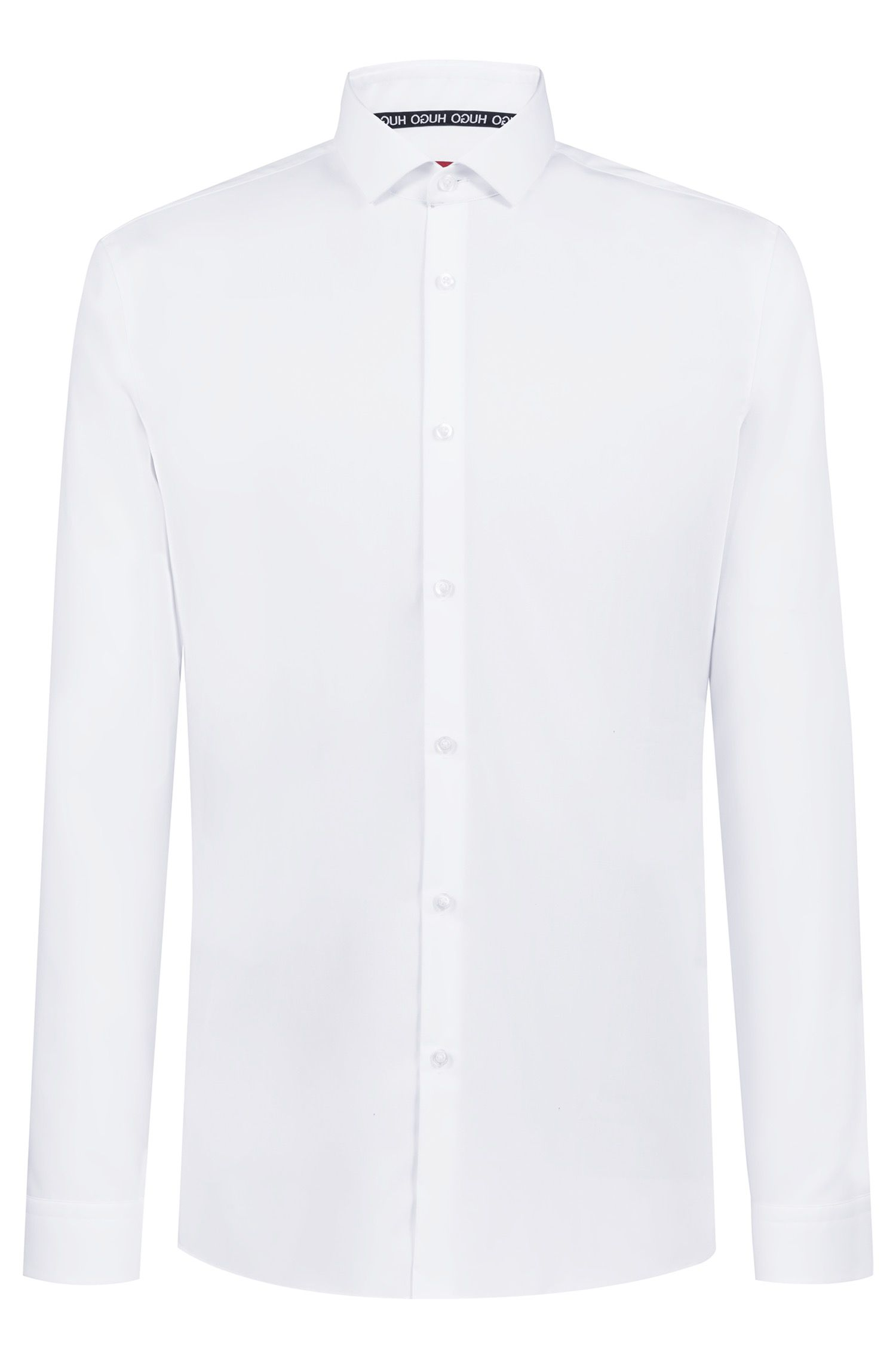 Extra-slim-fit cotton shirt with easy-iron finishing, White