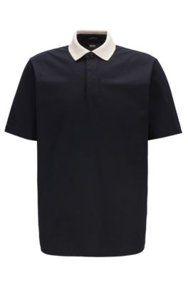 Poloshirt aus Baumwoll-Jersey mit Luminex-Finish und Kontrastkragen, Dunkelblau