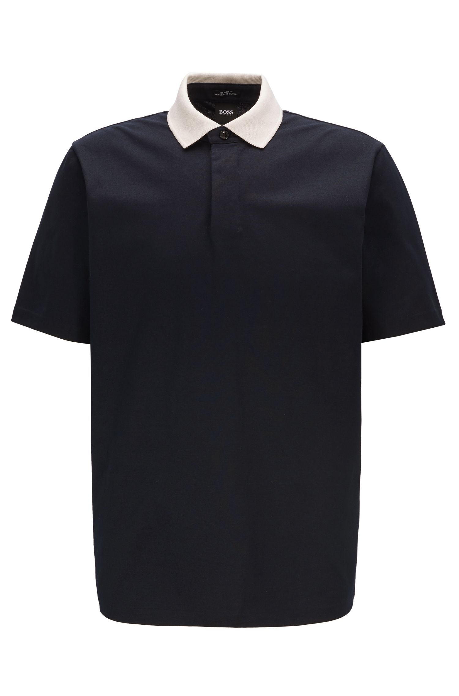 Contrast collar polo shirt in luminex cotton jersey, Dark Blue