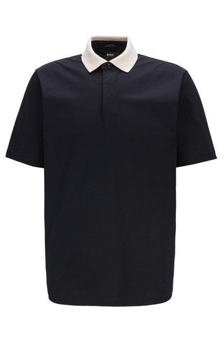 Polo con cuello en contraste en punto de algodón con luminex, Azul oscuro