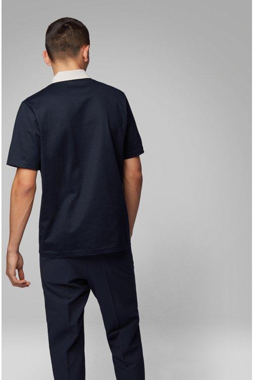 Hugo Boss - Polo à col contrastant en jersey de coton brillant - 4