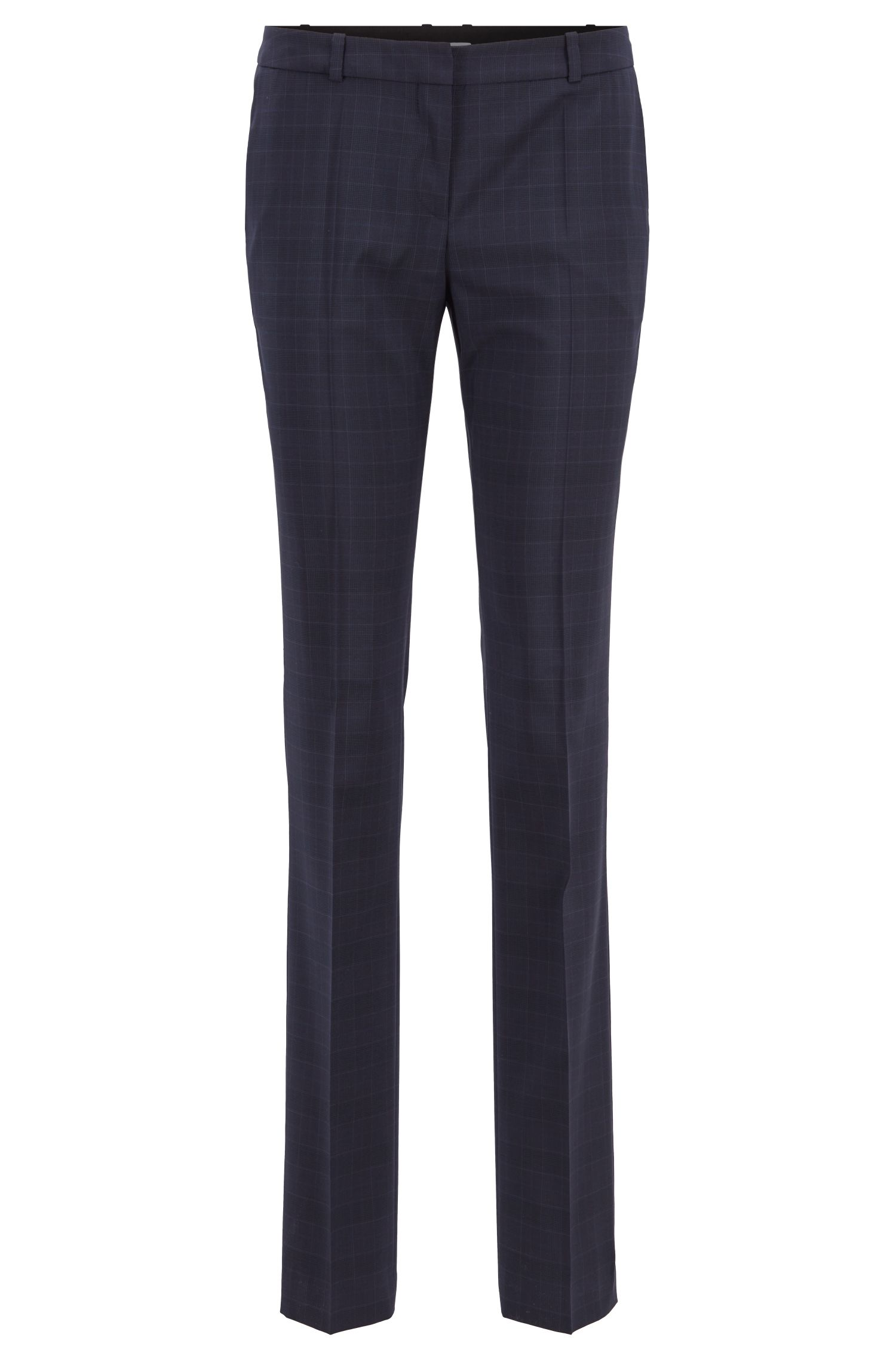 Extra-long regular-fit trousers in checked virgin wool, Patterned