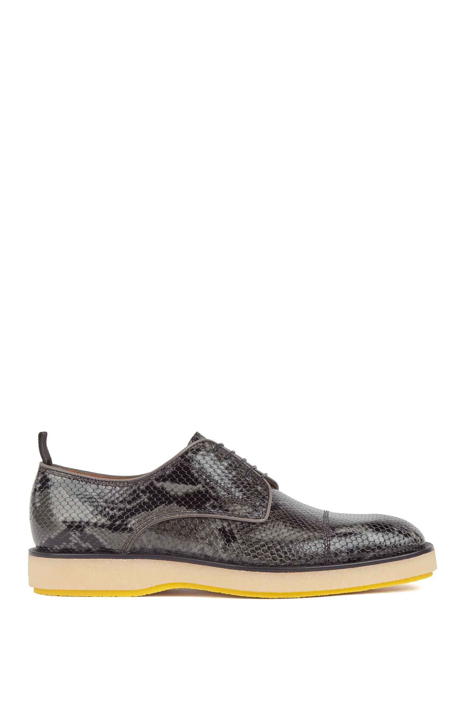 Derby shoes in snake-embossed calf leather, Dark Grey