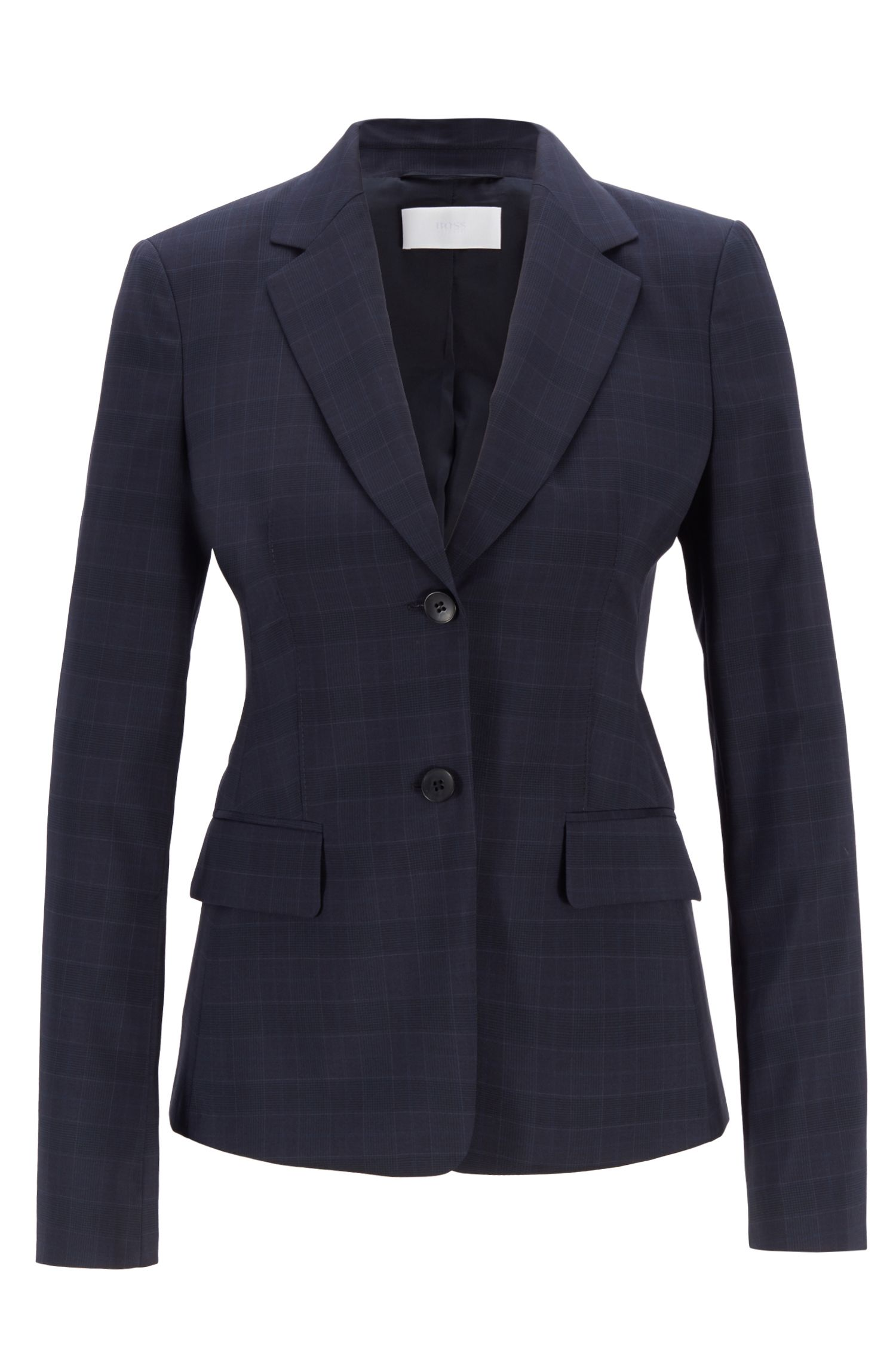 Regular-fit jacket in checked Italian wool, Patterned