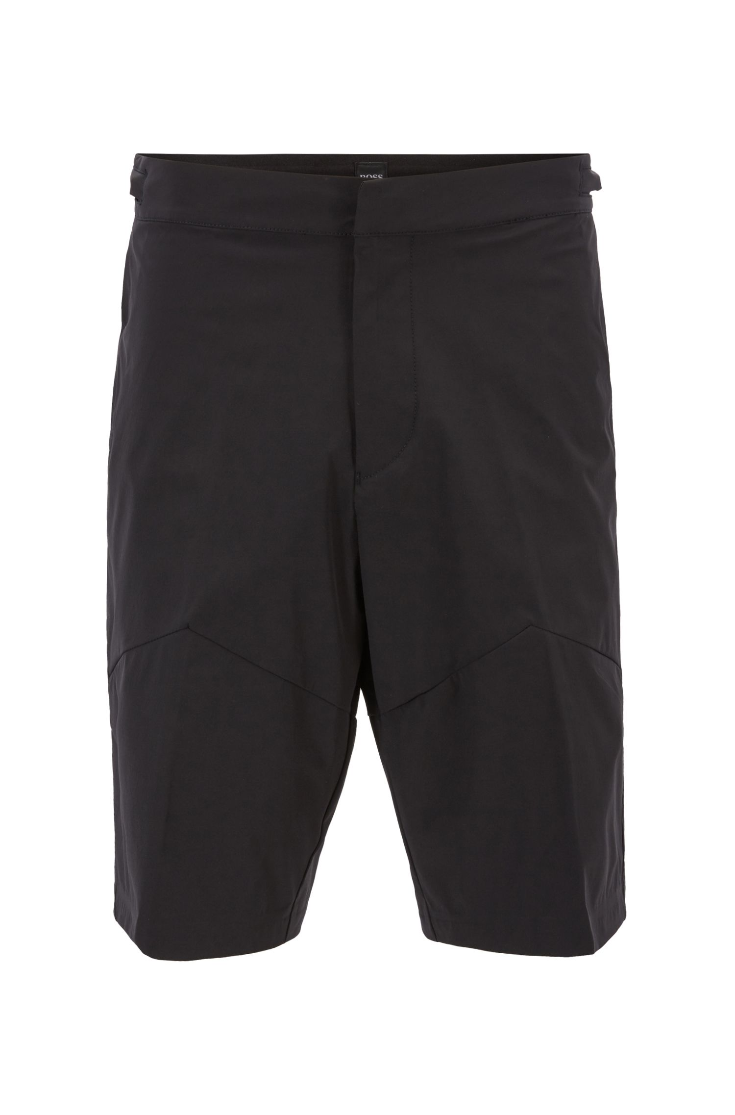 Shorts polivalentes slim fit en tejido elástico con microestructura, Negro