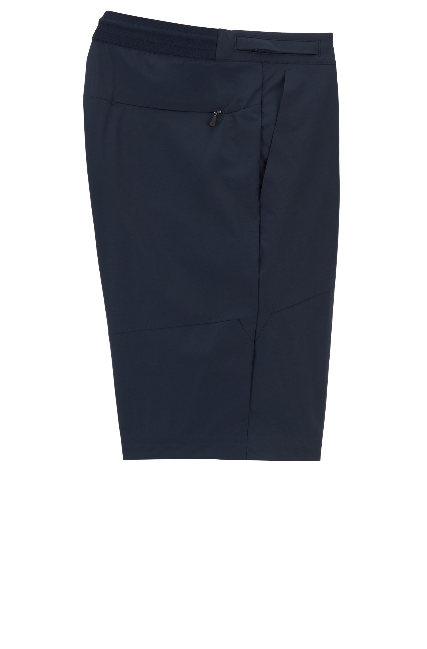 Multifunctionele slim-fit short van stretchmateriaal met microstructuur, Donkerblauw