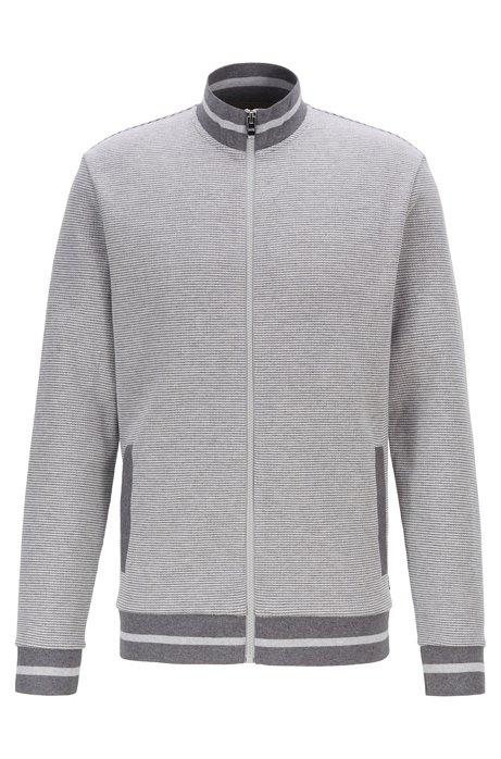 Sweatshirt van een tweekleurige katoenmix met doorlopende ritssluiting, Grijs
