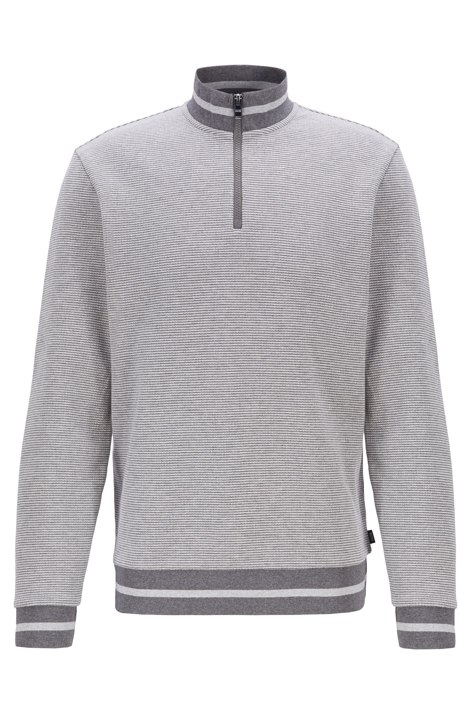 Sweatshirt mit melierter Struktur und Troyerkragen, Grau