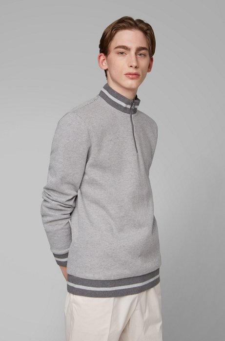 Sweater met ritskraag en tweekleurige melangestructuur, Grijs