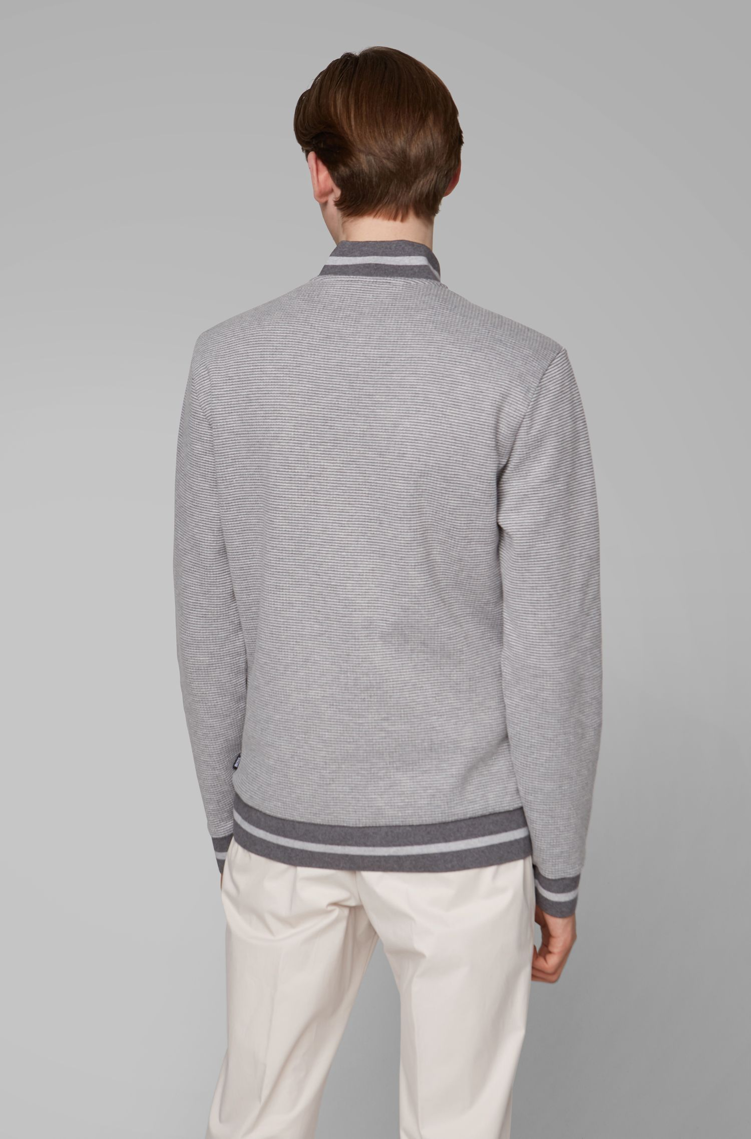 Zip-neck sweatshirt with two-tone melange structure, Grey