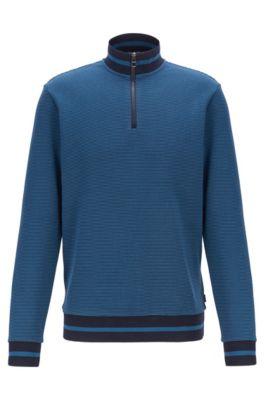 Sweatshirt mit melierter Struktur und Troyerkragen, Blau