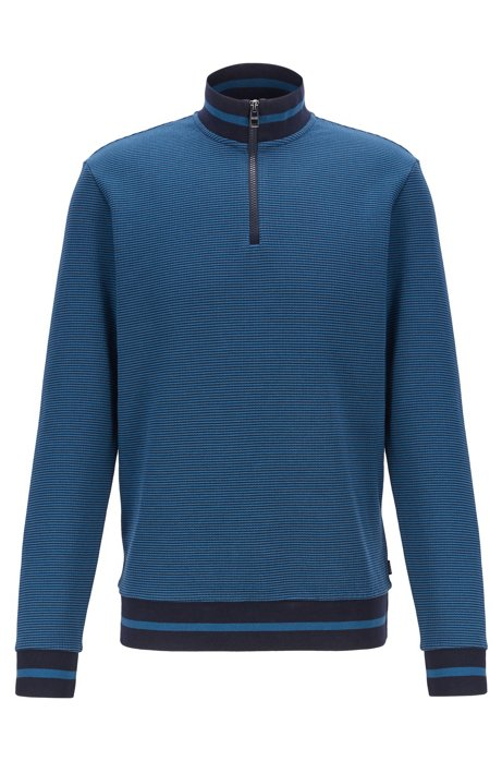 Sweater met ritskraag en tweekleurige melangestructuur, Blauw