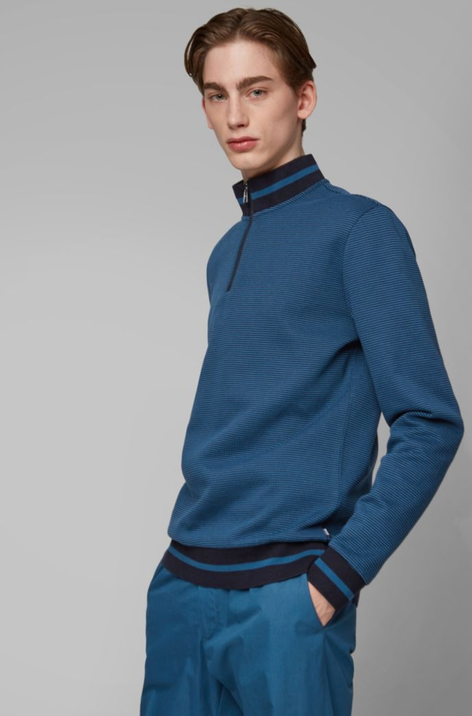 Sweater met ritskraag en tweekleurige melangestructuur