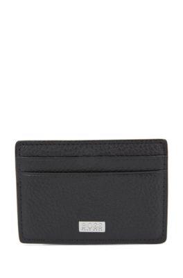 Kartenetui aus italienischem Leder mit metallener Geldscheinklammer, Schwarz