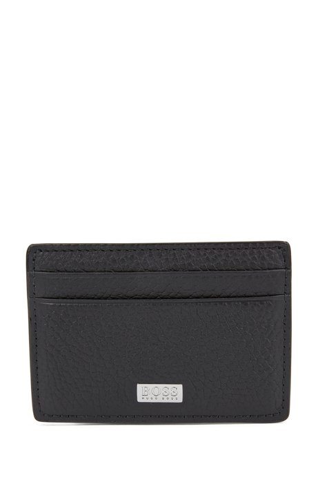 Card holder in Italian leather with metal money clip, Black