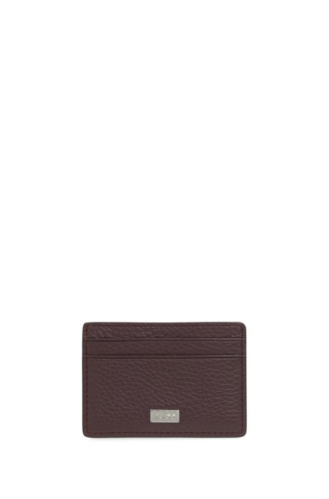 Porte-cartes en cuir italien avec pince à billets en métal, Rouge sombre