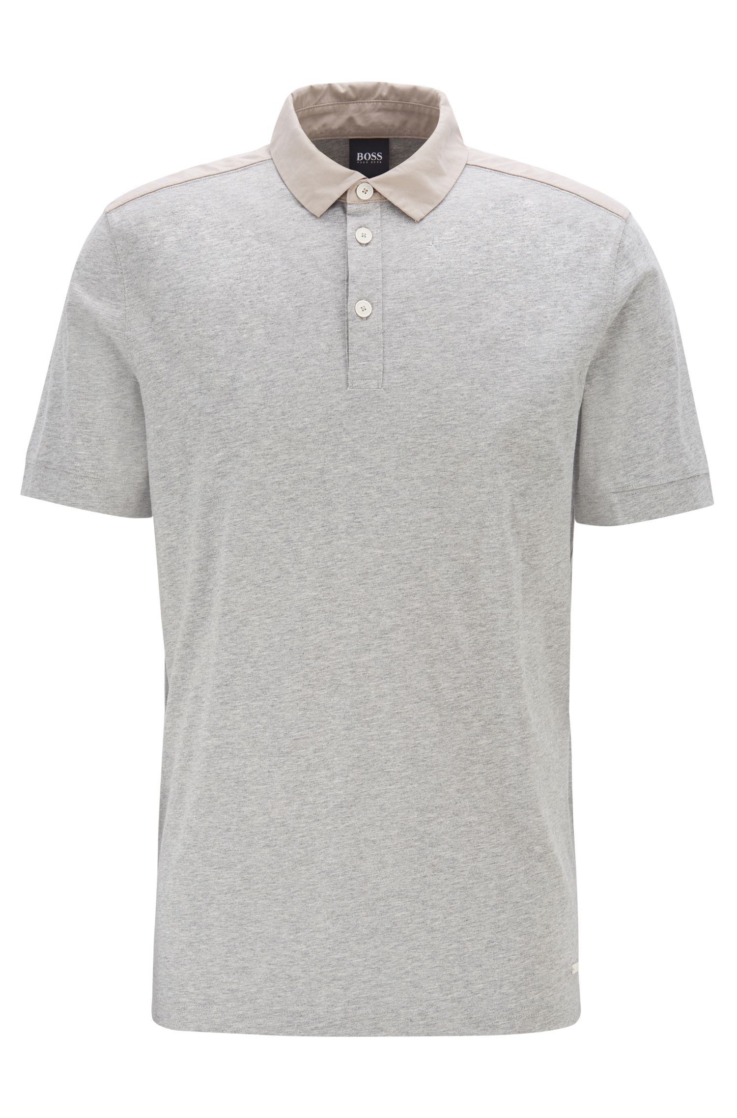 Regular-fit polo shirt in cotton with woven trims, Light Grey