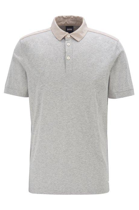 Polo Regular Fit en coton, avec finitions en tissu, Gris chiné