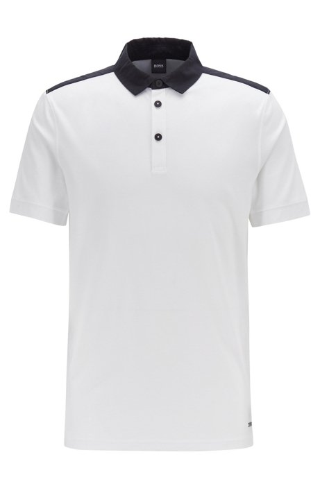 Regular-fit polo shirt in cotton with woven trims, White