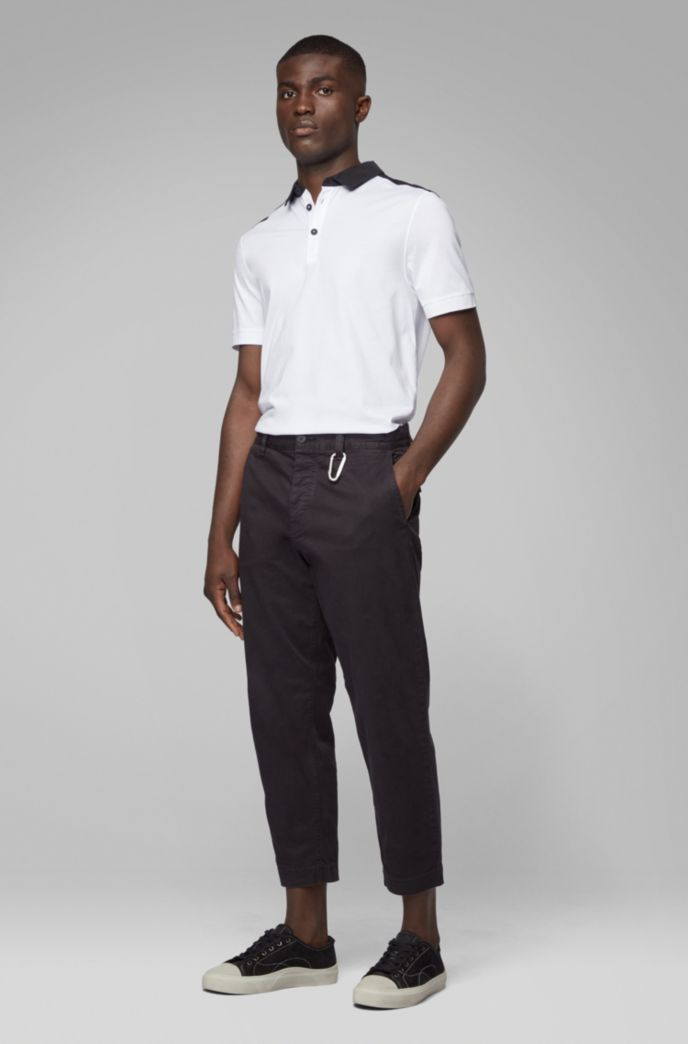 Regular-fit polo shirt in cotton with woven trims