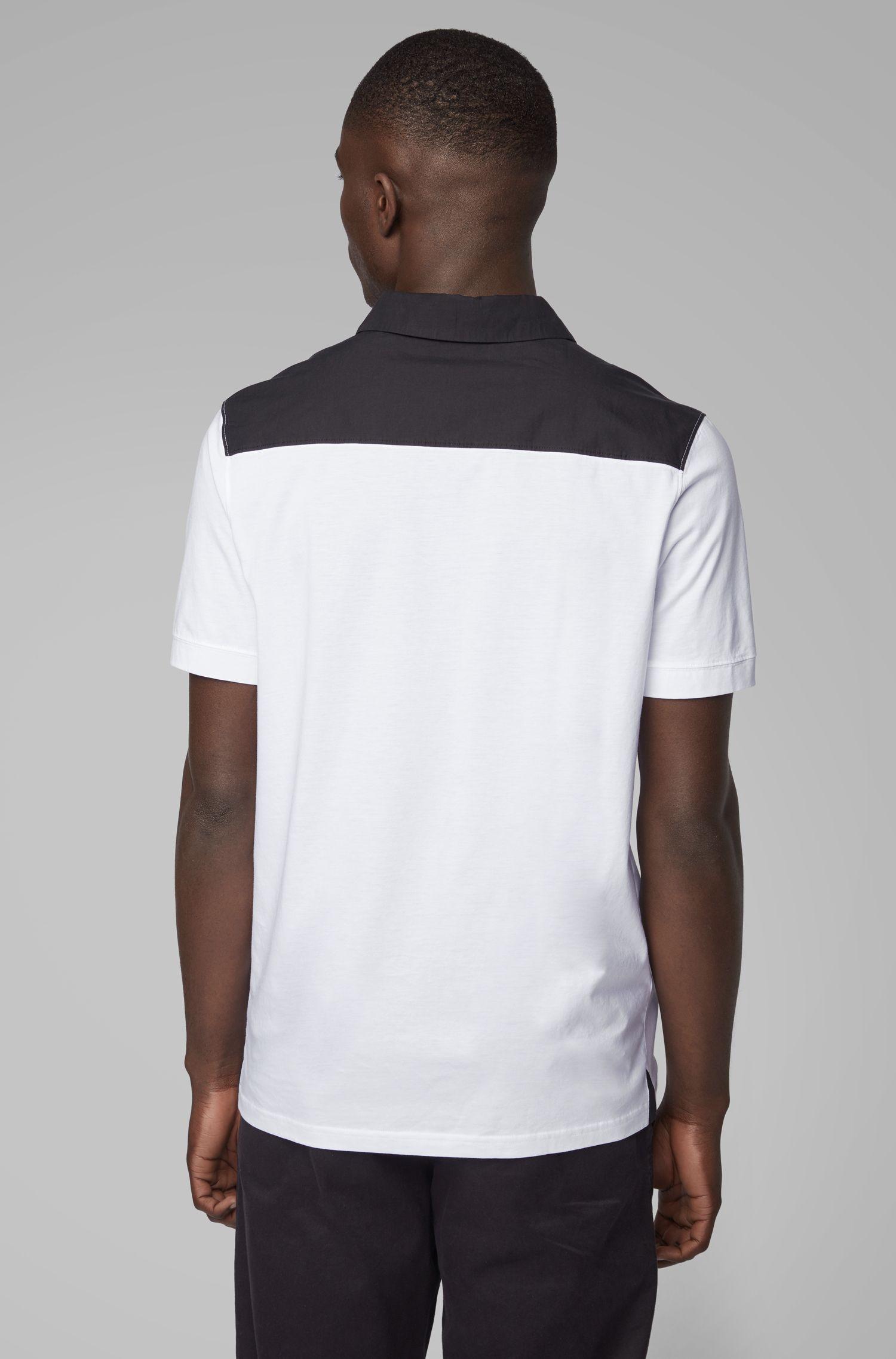 Polo regular fit de algodón con detalles tejidos, Blanco
