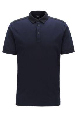 Poloshirt aus Baumwolle mit Webdetails, Dunkelblau