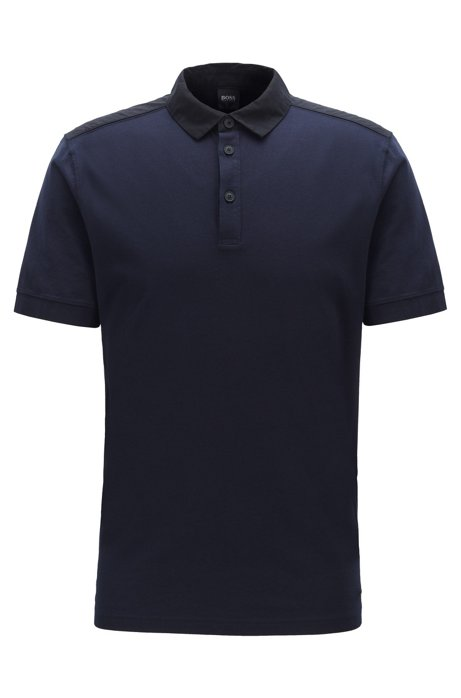 Regular-fit polo shirt in cotton with woven trims, Dark Blue
