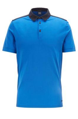 Poloshirt aus Baumwolle mit Webdetails, Blau