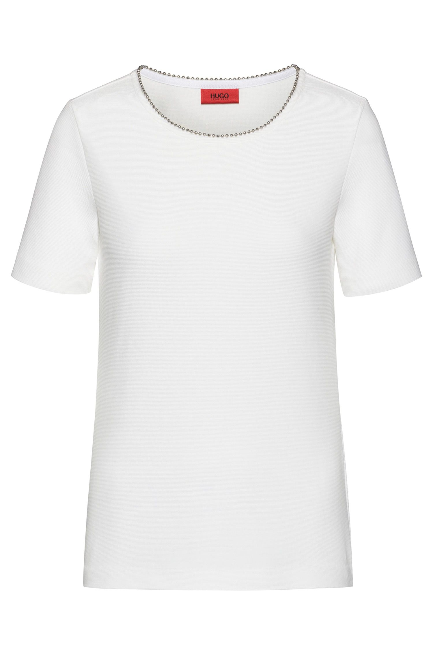Regular-fit T-shirt with ball-chain trim, Natural