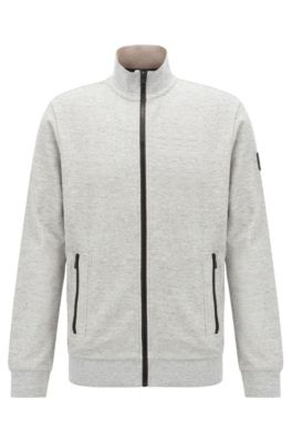 Giacca in jersey relaxed fit con zip a contrasto, Grigio chiaro