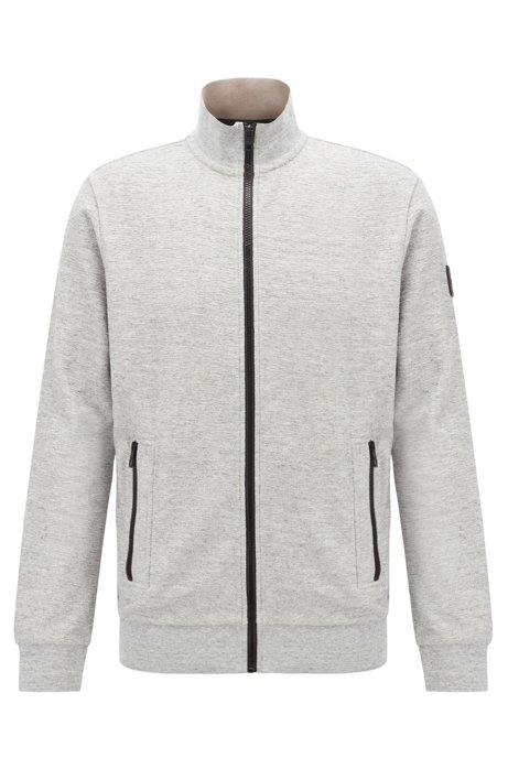 Relaxed-fit jersey jacket with contrast zips, Light Grey