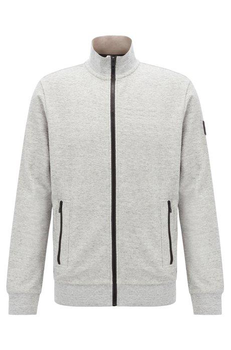 Jersey-Jacke mit kontrastfarbenen Reißverschlüssen, Hellgrau