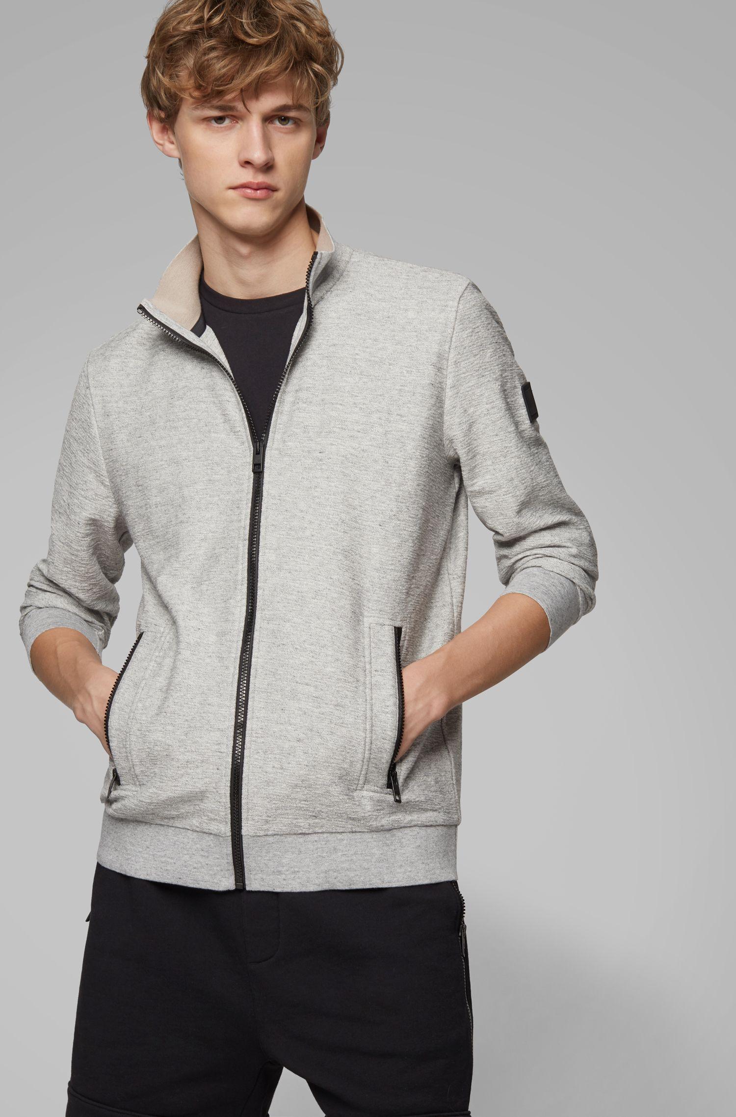 Veste Relaxed Fit en jersey avec fermetures éclair contrastantes, Gris chiné