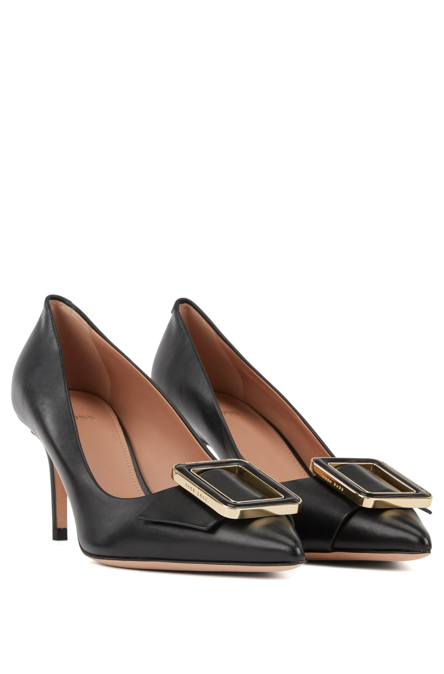 Calf-leather pumps with hardware trim, Black