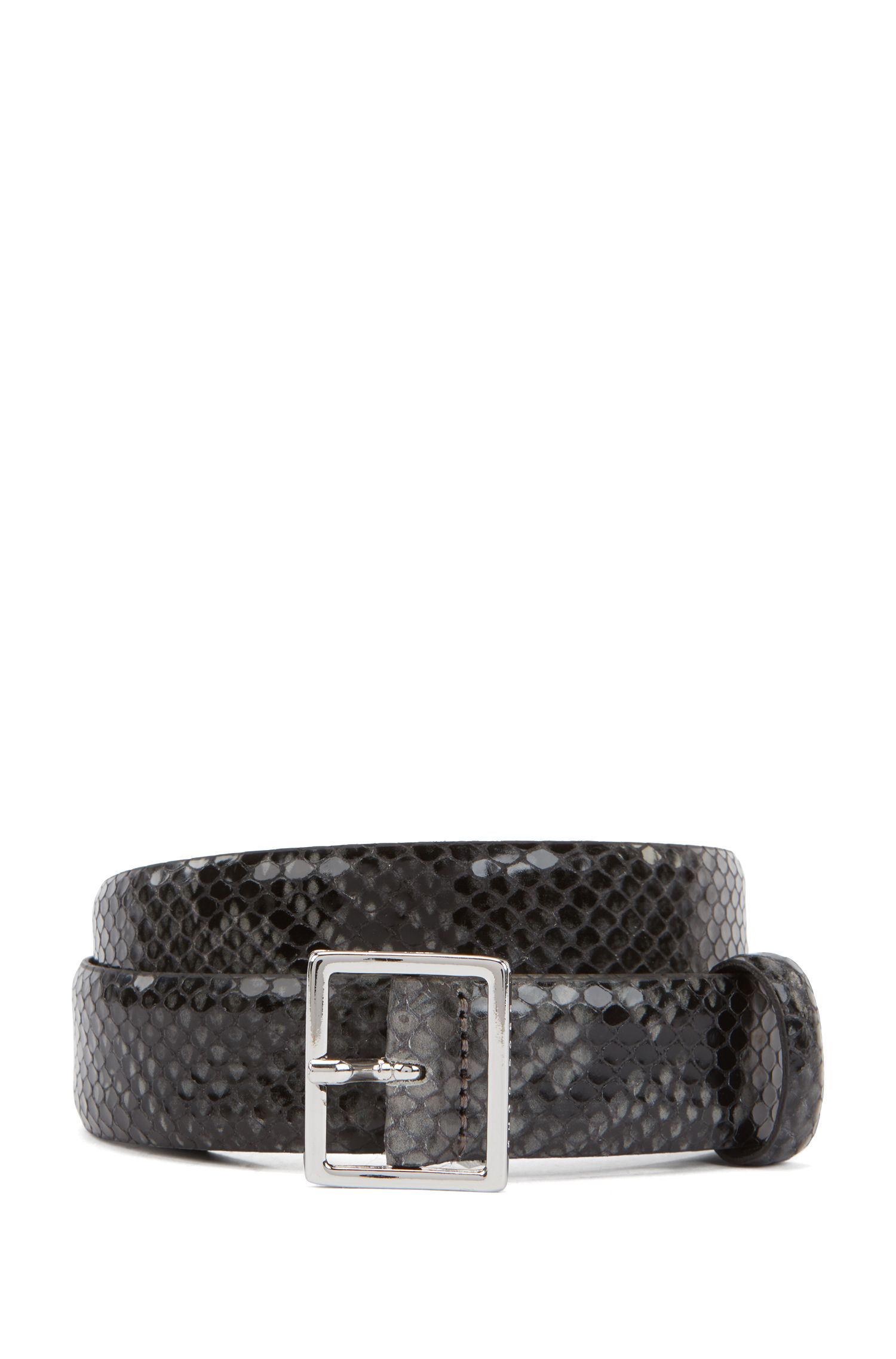 Pin-buckle belt in leather with snake-print embossing, Dark Grey