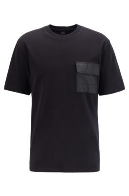 Relaxed-fit T-shirt in cotton jersey with Tyvek® pocket, Black