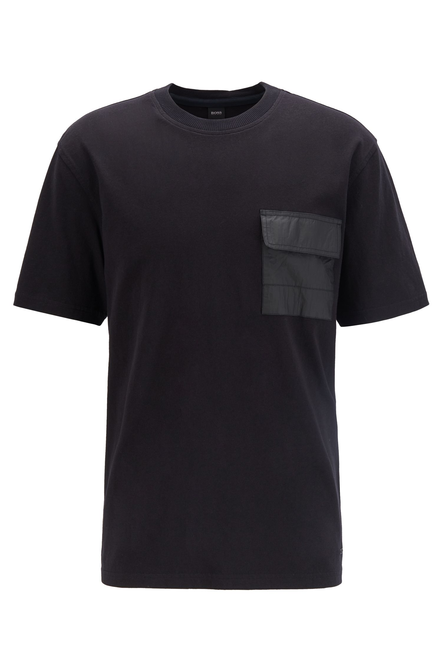 T-shirt relaxed fit in jersey di cotone con tasca Tyvek®, Nero