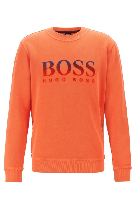 Relaxed-fit sweatshirt in French-rib cotton, Orange