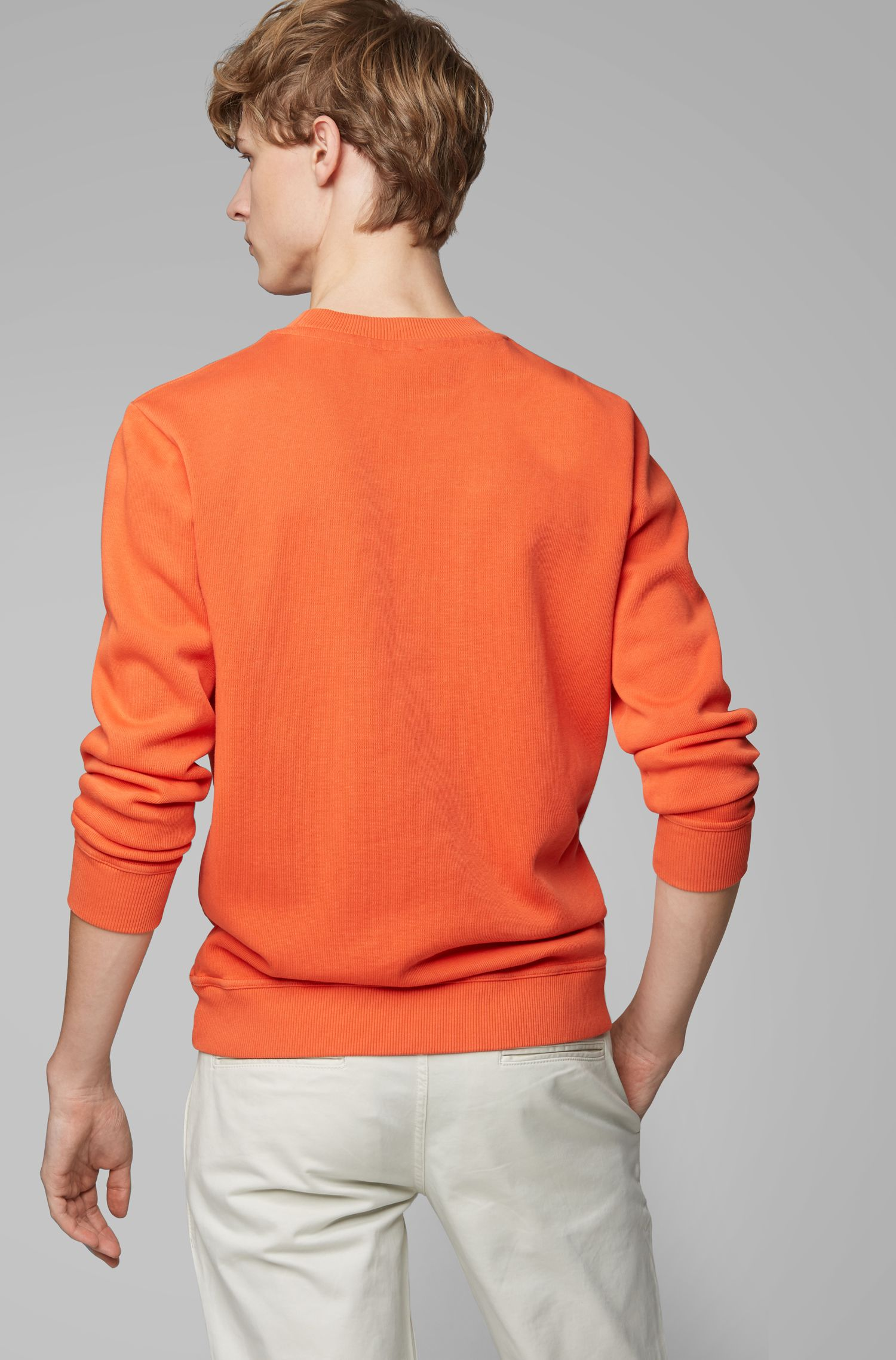 Sweatshirt aus gerippter Baumwolle, Orange