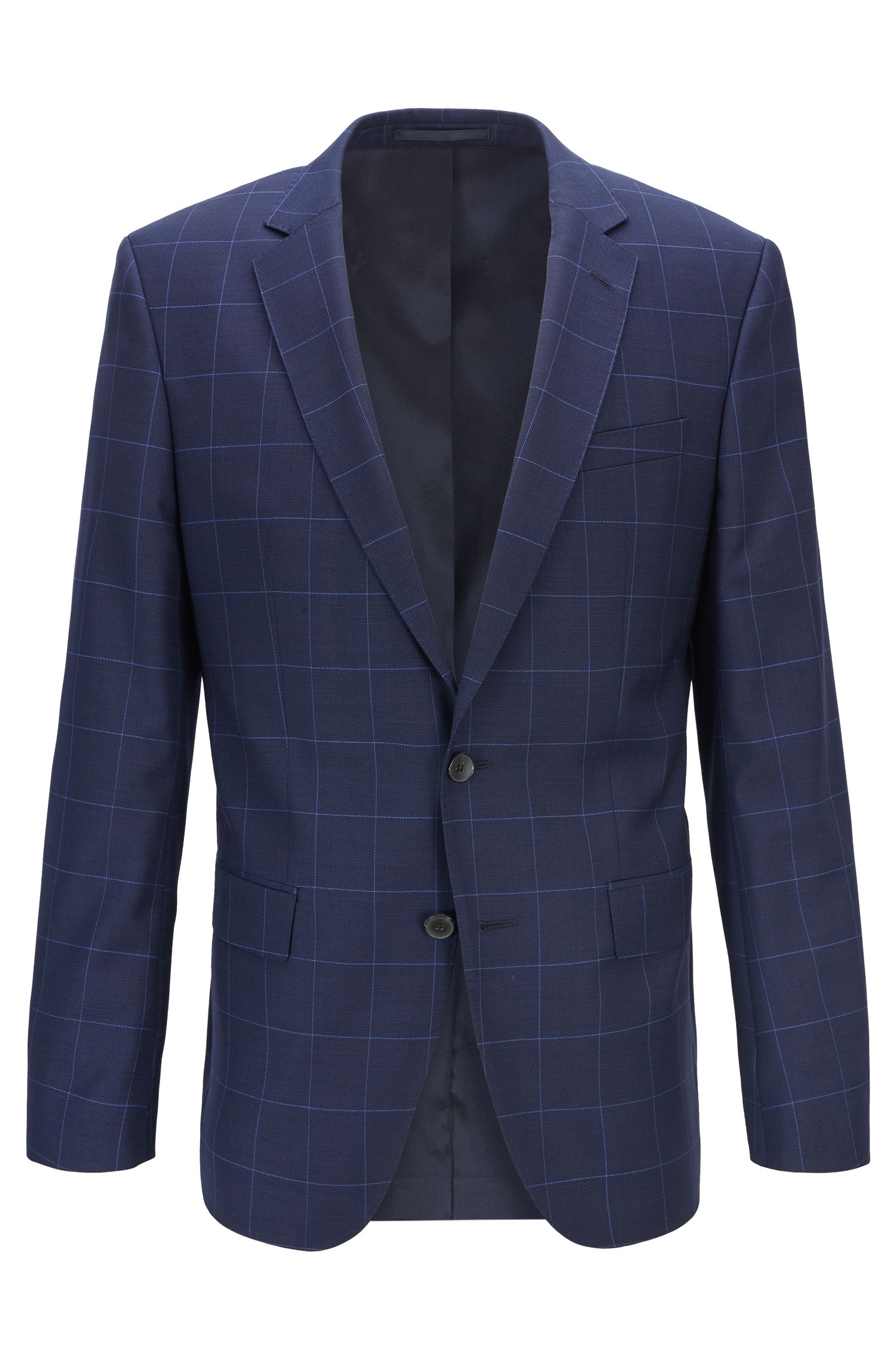 Slim-fit jacket in checked virgin wool with buttonhole, Dark Blue